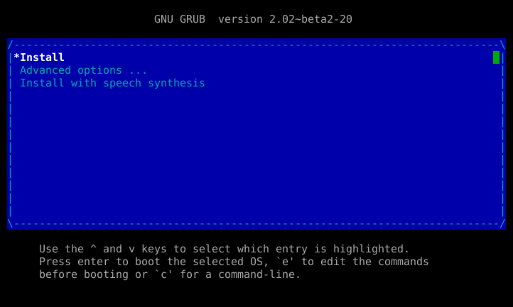 Screenshot of grub menu