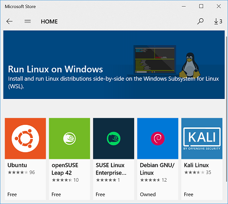 Picture of Ubuntu, openSUSE, SLES, Debian and Kali in the Microsoft Store