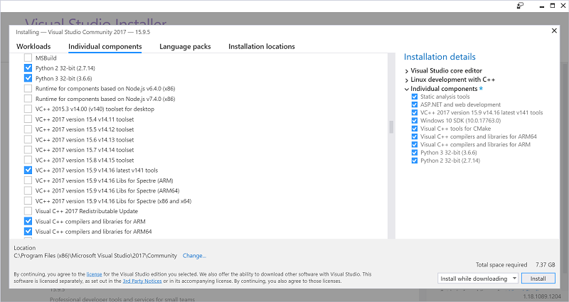 Screenshot of VS2017 installer component selection.